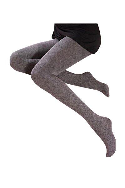 Kadın Gri Pamuklu Kalın 90 Denye Külotlu Çorap 2544