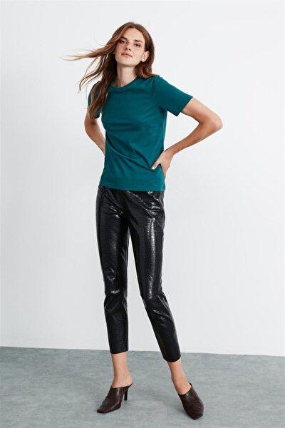 Hannah Kadın Petrol Yuvarlak Yakalı Basic T-shirt