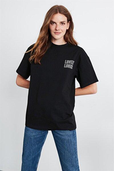 Natalıe Kadın Siyah Oversize Önü Ve Arkası Baskılı T-shirt