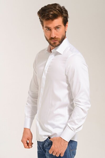 Dar Kesim Uzun Kollu Beyaz Gömlek