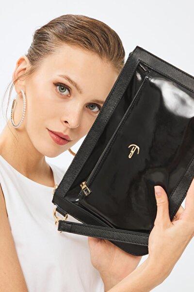 Kadın Basic Clutch Çanta Rugan Siyah 214003