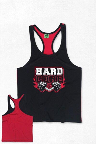 Hard Core Gym Fitness Tank Top Sporcu Atleti Siyah Kırmızı