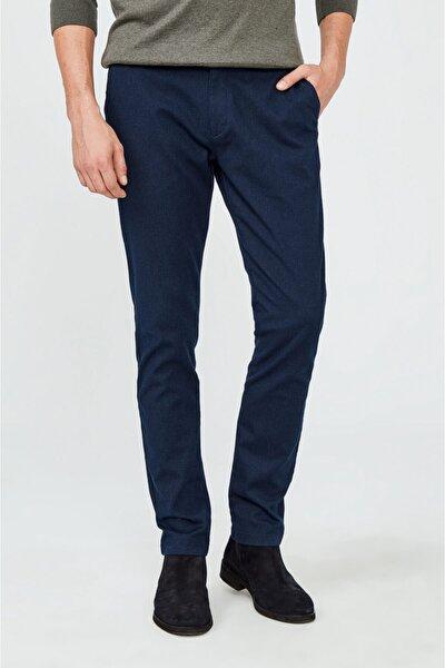 Erkek Lacivert Yandan Cepli Armürlü Slim Fit Pantolon A02y3017