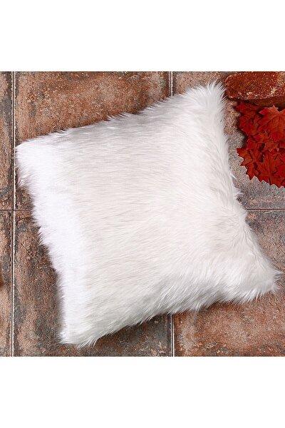Beyaz Renkli Peluş Kırlent Kılıfı Yns1834