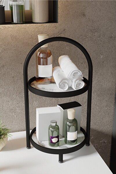 2 Katlı Beyaz Mermer Desenli Kozmetik Takı Banyo Düzenleyici Organizeri 41 Cm