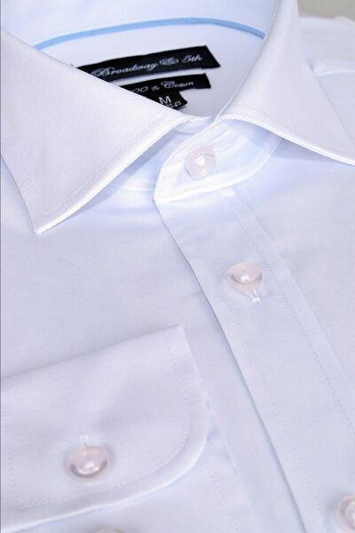Broadway Uzun Kollu Klasik Erkek Gömlek Beyaz