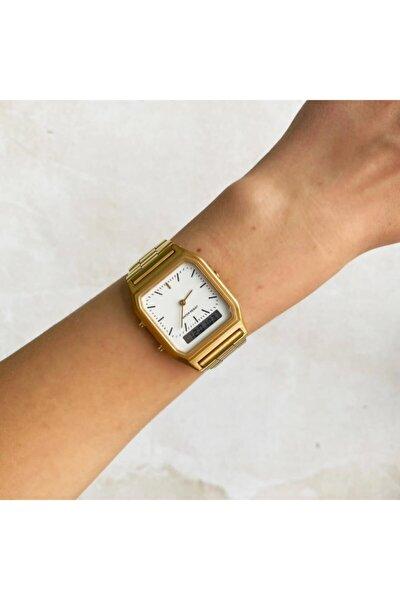 Beyaz Kadran Gold Çift Göstergeli Saat