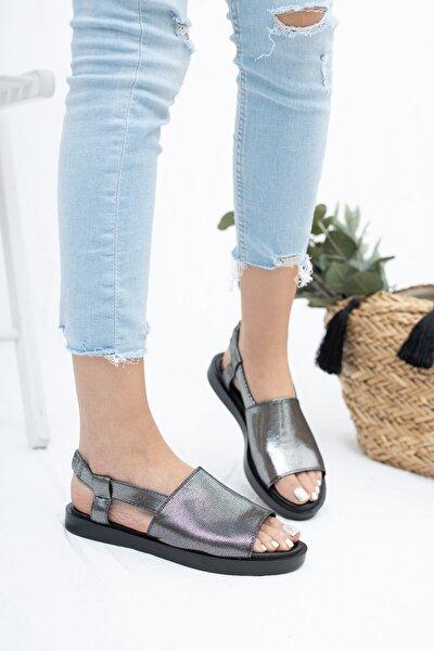 Hakiki Deri Platin Kadın Deri Sandalet Dp26-0597