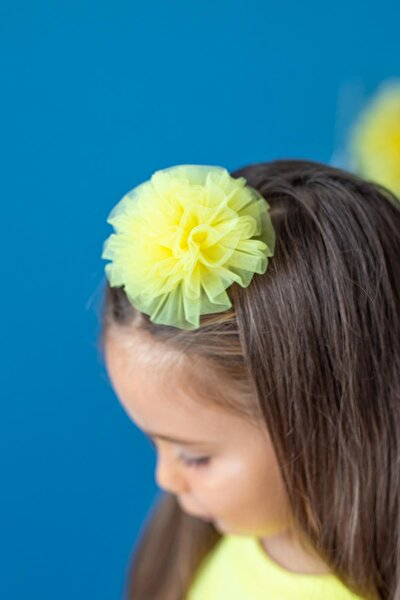 Sarı Kız Çocuk Bandana Mini Puffy