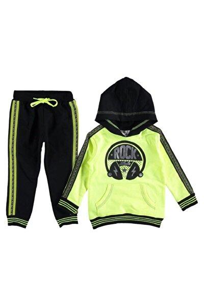 Rock Kapşonlu Neon Yeşil Kız Çocuk Eşofman Takımı