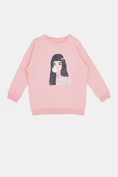 Kız Çocuk Pembe Baskılı Sweatshirt 20fw0tj4504