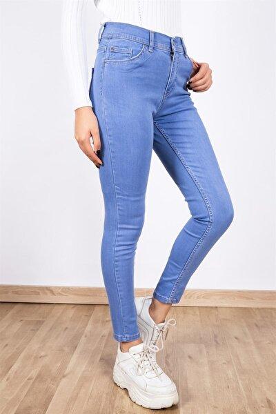Kadın Dar Kesim Likralı Kot Pantolon Açık Mavi