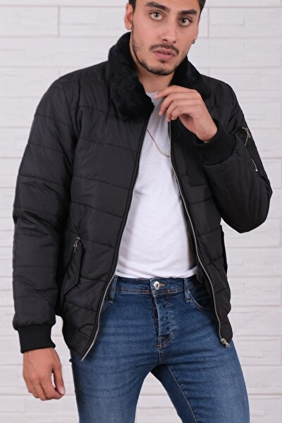 Erkek Yakası Kürklü Cepli Fermuarlı Slim Fit Siyah Mont