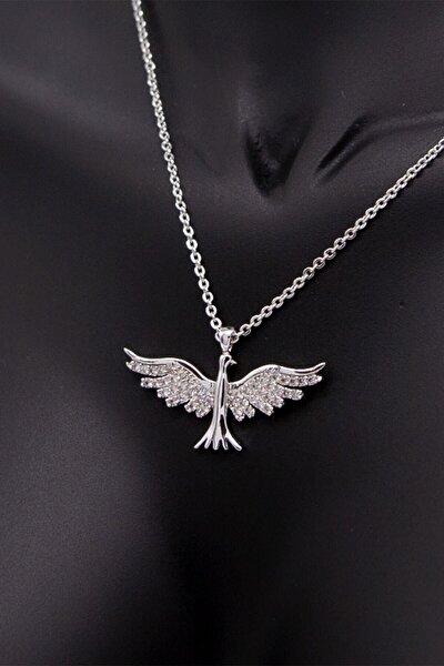 Kadın Zümrüdü Anka Kuşu Kolye Zirkon Taşlı Gümüş Kaplama