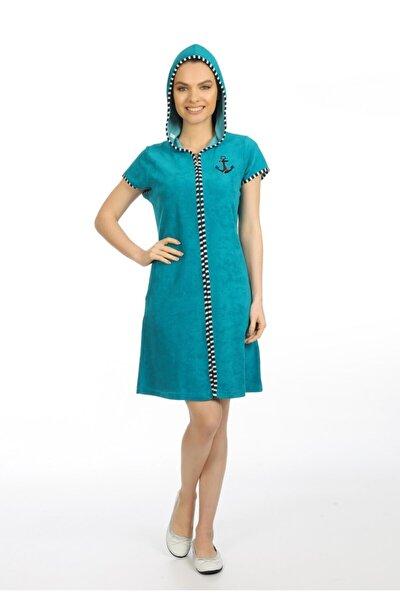 Fermuarlı Zümrüt Yeşili Renk Elbise