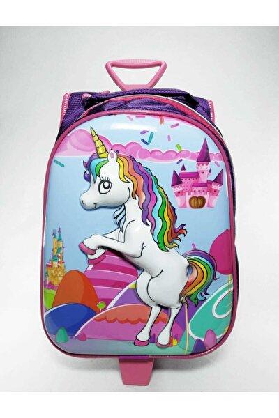 Unicorn Tek Fermuarlı Anaokulu Ve Ilkokulu Çantası Unicorn Çekçekli Tekerlekli Çanta