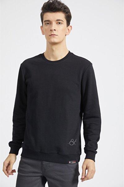 Erkek Siyah Bisiklet Yaka Baskılı Sweatshirt A02y1056
