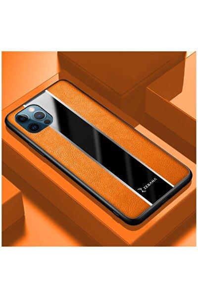 Iphone 12 Pro Max Uyumlu Turuncu Deri Kılıf
