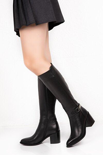 Puyol Hakiki Deri Siyah Kadın Çizme