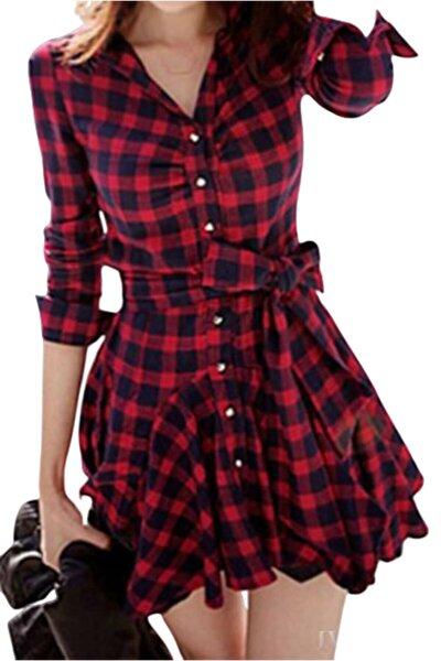 Kemerli Mini Kadın Gömlek Elbise