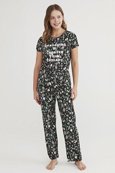 Kadın Çok Renkli Gardening Pijama Takımı