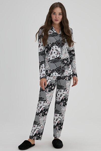 Siyah Kadın Modal Desenli Pijama Takımı