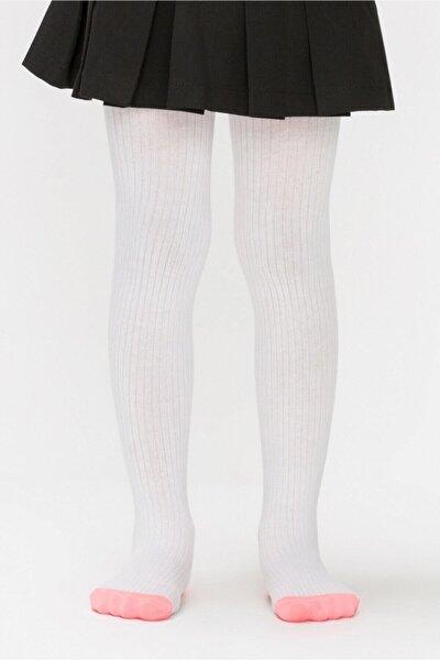 Beyaz Renk Triko Külotlu Çorap
