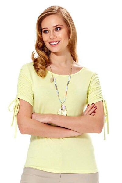 Kadın Açık Fıstık Yeşil Kolu Bağcıklı Bluz 018-1009