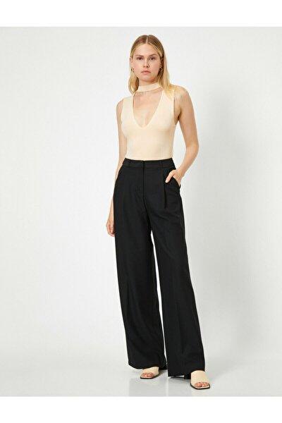 Kadın Siyah Geniş Paça Pantolon