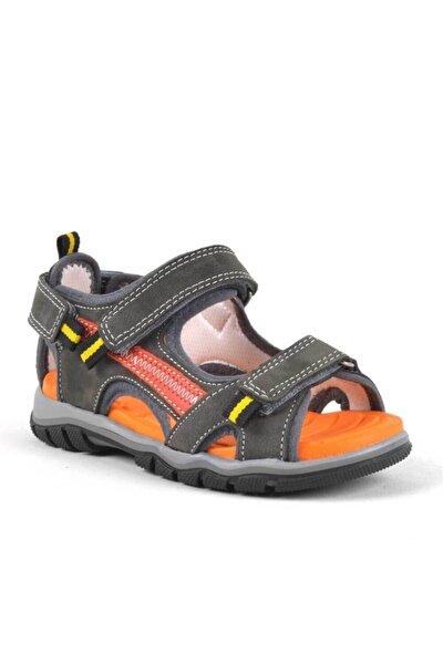 Erkek Çocuk Gri Hakiki Deri Cırtlı Trekking Sandalet