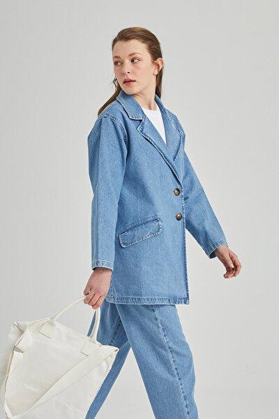 Kadın Denim Blazer Ceket Mavi