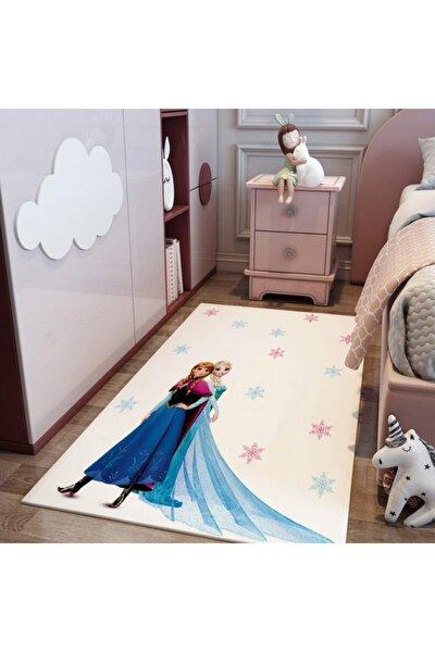 Çocuk Beyaz Elsa Frozen Ve Anna Karlar Ülkesi Serisi Halı