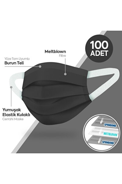 Yumuşak Elastik Kulaklı 3 Katlı Telli Siyah Cerrahi Maske 10x10