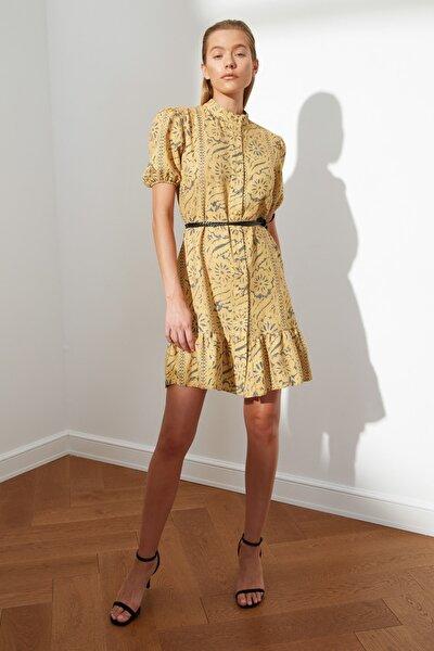 Hardal Kuşaklı Desenli Elbise TWOSS21EL2622