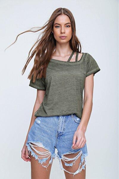 Kadın Haki Askı Detaylı Yıkamalı T-Shirt MDA-1124