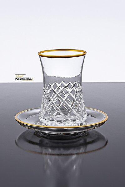 Desenli Kesme 12 Parça 6 Kişilik Çay Bardağı Seti