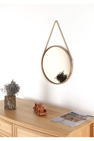 Capella Ayna - Halat Askılı Ayna - Dekoratif Ayna - Yuvarlak Ayna - Ahşap Çerçeveli Ayna -gümüş Ayna