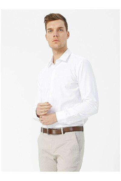 Erkek Beyaz Slim Fit Klasik Uzun Kol Gömlek