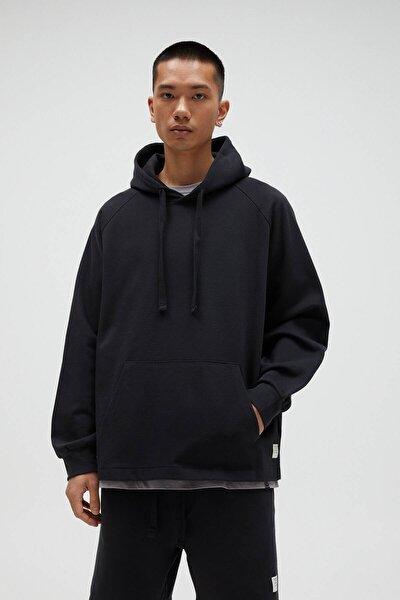 Erkek Siyah Basic Comfort Fit Kapüşonlu Sweatshirt - En Az %75 Organik Pamuklu 04592900