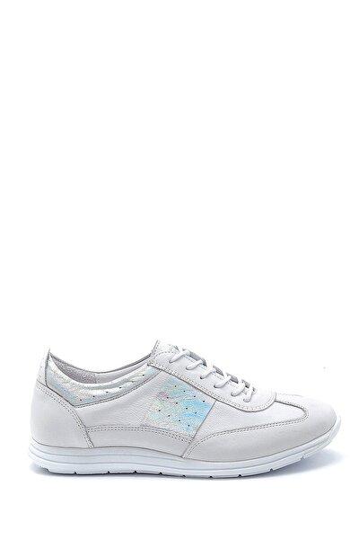 Kadın Beyaz Gümüş Deri Sneaker