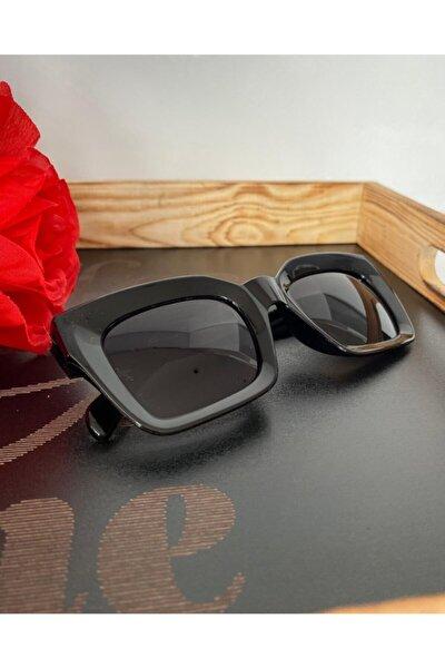 Mia Kalın Çerçeveli Tasarım Gözlük Siyah Çerçeve Siyah Cam