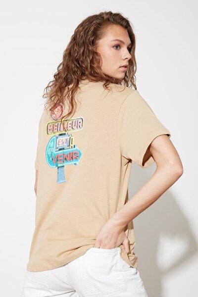Camel Boyfriend Örme T-Shirt TWOSS21TS2203