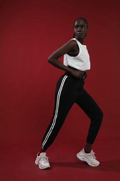 Kadın Siyah Yanı Iki Şeritli Yüksek Bel Jogger Eşofman Altı