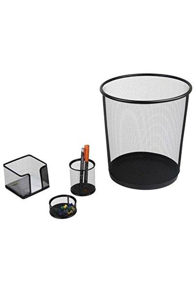 Metal Ofis Seti 4 Lü Çöp K Kal Not Ataşlık Fx
