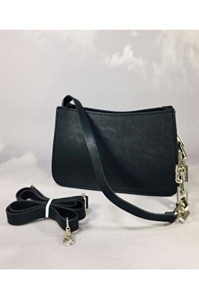 Kadın Siyah Zincirli Baget Çanta