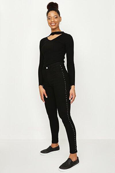 Kadın Siyah Taş Detaylı Yüksek Bel Skinny Jeans