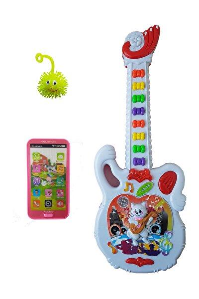 3 Ürün Bir Arada Işıklı Sesli  Gitar Işıklı Sesli Dokunmatik Telefon Set40 cm