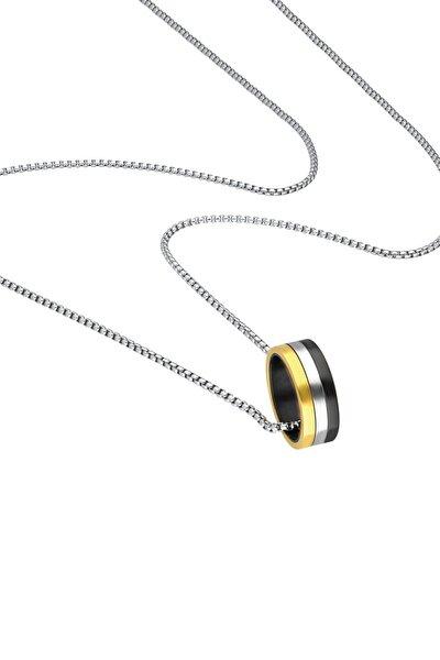 3 Renk Siyah Gold Uzun Zincirli Erkek Çelik Kolye Z50k