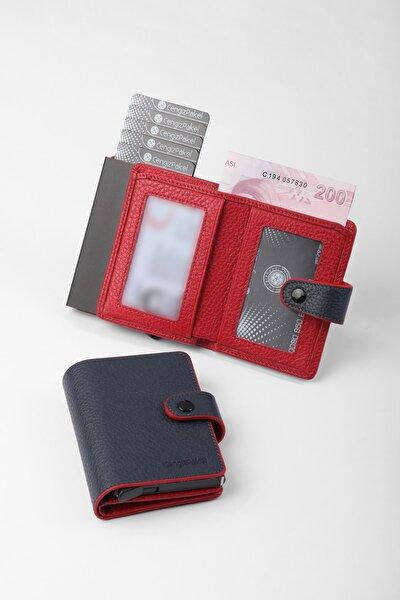 Gerçek Deri Mekanizmalı Lacivert-kırmızı Kartlık-cüzdan