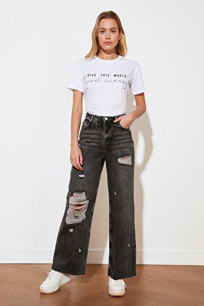 Antrasit Yırtık Detaylı Yüksek Bel Wide Leg Jeans TWOSS21JE0017